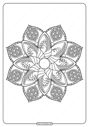 Free Printable Adult Floral Mandala Coloring Page 64