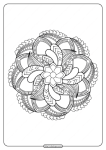 Free Printable Adult Floral Mandala Coloring Page 65