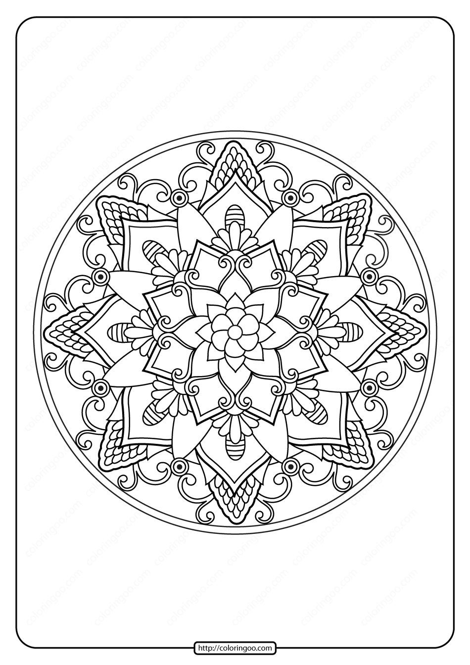 Free Printable Adult Floral Mandala Coloring Page 66
