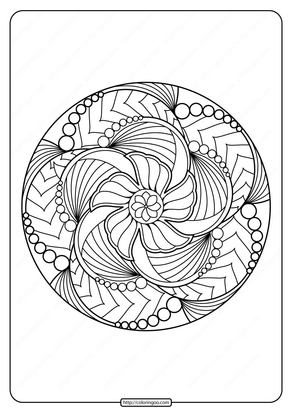 Free Printable Adult Floral Mandala Coloring Page 70
