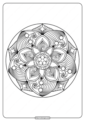 Free Printable Adult Floral Mandala Coloring Page 72