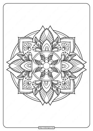 Free Printable Adult Floral Mandala Coloring Page 73