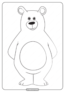 Free Printable Animals Bear Pdf Coloring Page