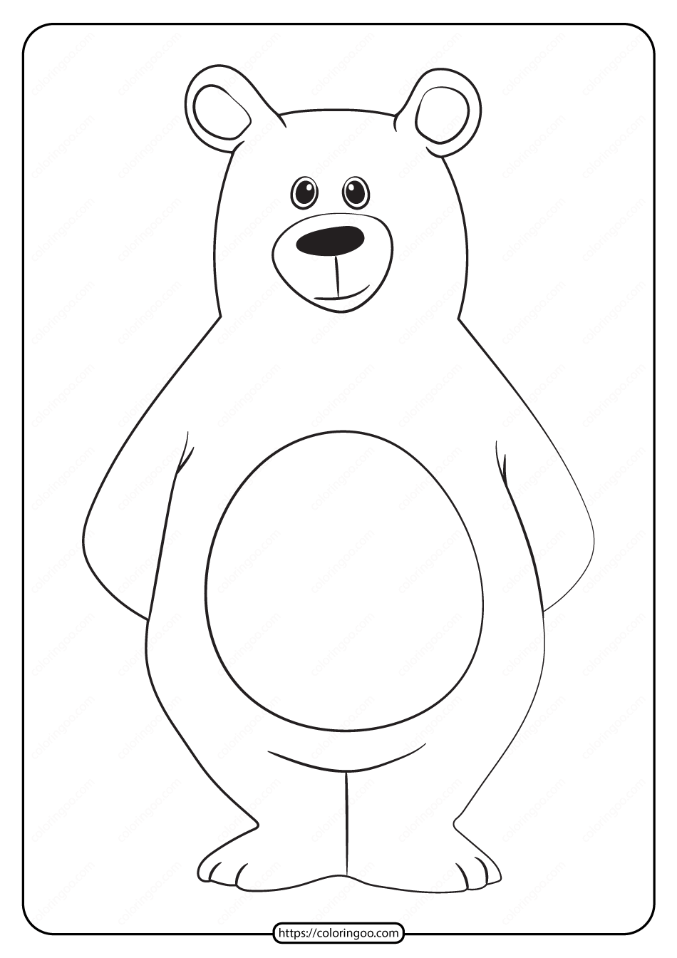 Free Printable Animals Bear Pdf Coloring Page