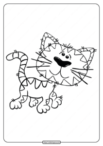 Free Printable Animals Cat Walking Coloring Page