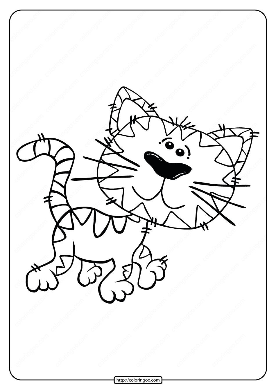 Free Printable Animals Cat Walking Coloring Page
