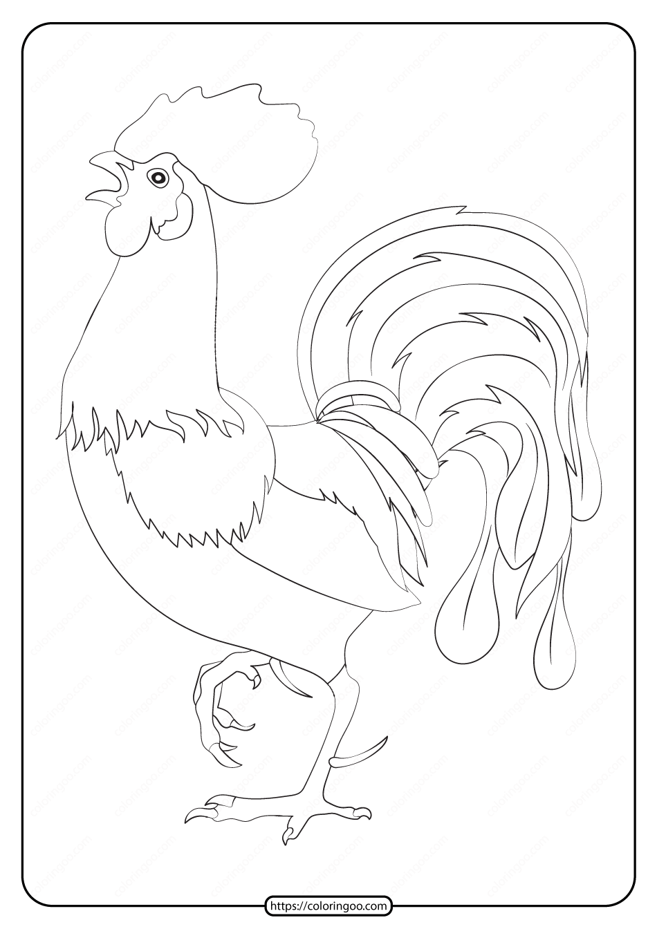 Free Printable Animals Cock Pdf Coloring Page