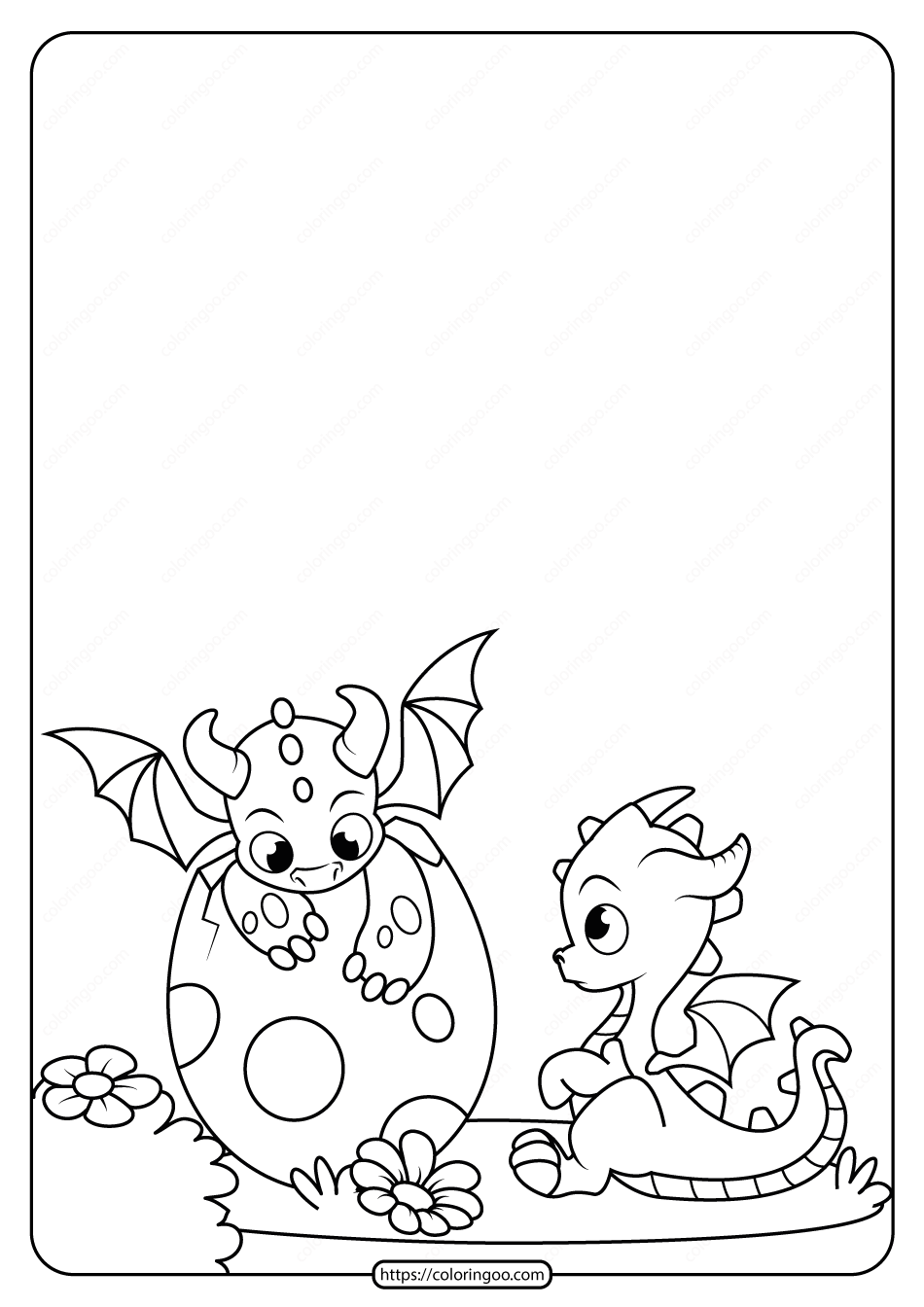 Printable Dragon Cubs Coloring Page