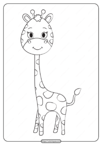 Free Printable Animals Giraffe Pdf Coloring Page