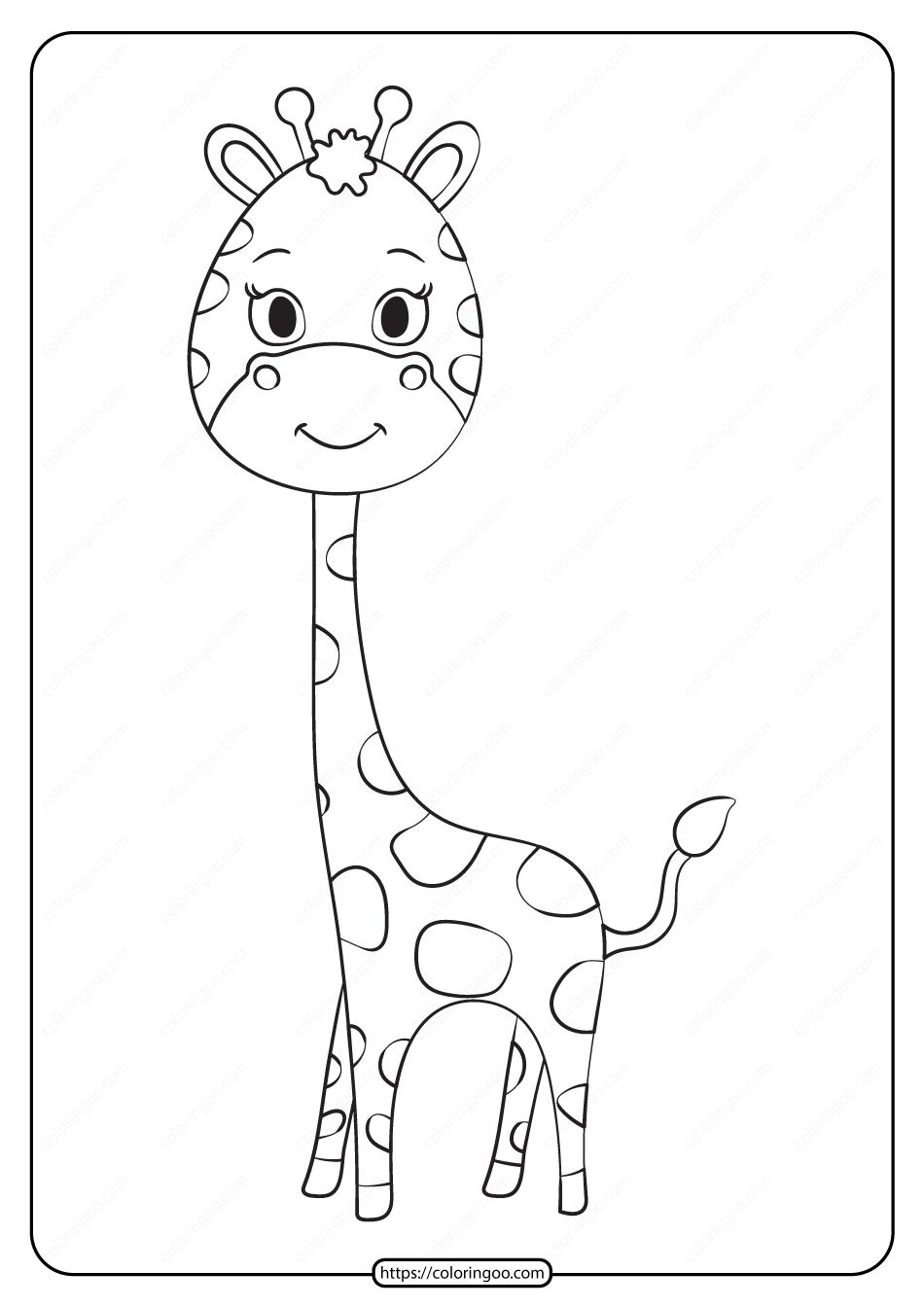 Free Printable Animals Giraffe Pdf Coloring Page