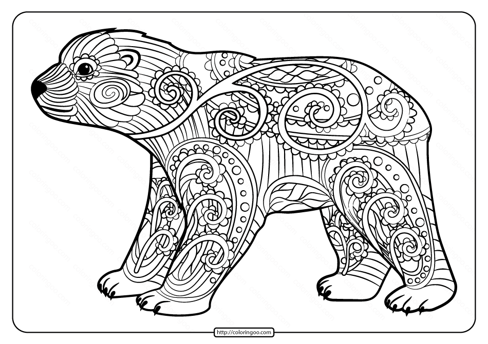 Free Printable Baby Polar Bear Pdf Coloring Page