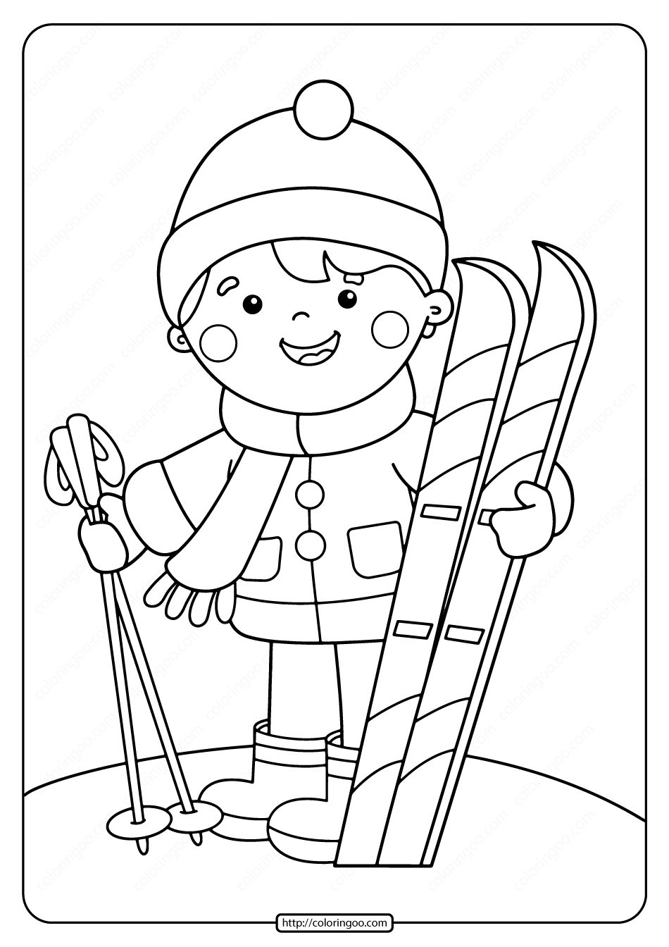 Free Printable Boy With Skis Pdf Coloring Page