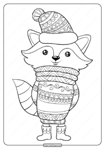 Free Printable Bundled Up Fox Pdf Coloring Page