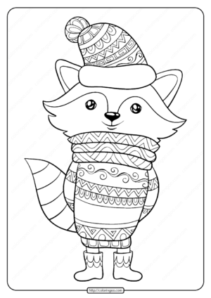 Free Printable Bundled Up Fox Pdf Coloring Page