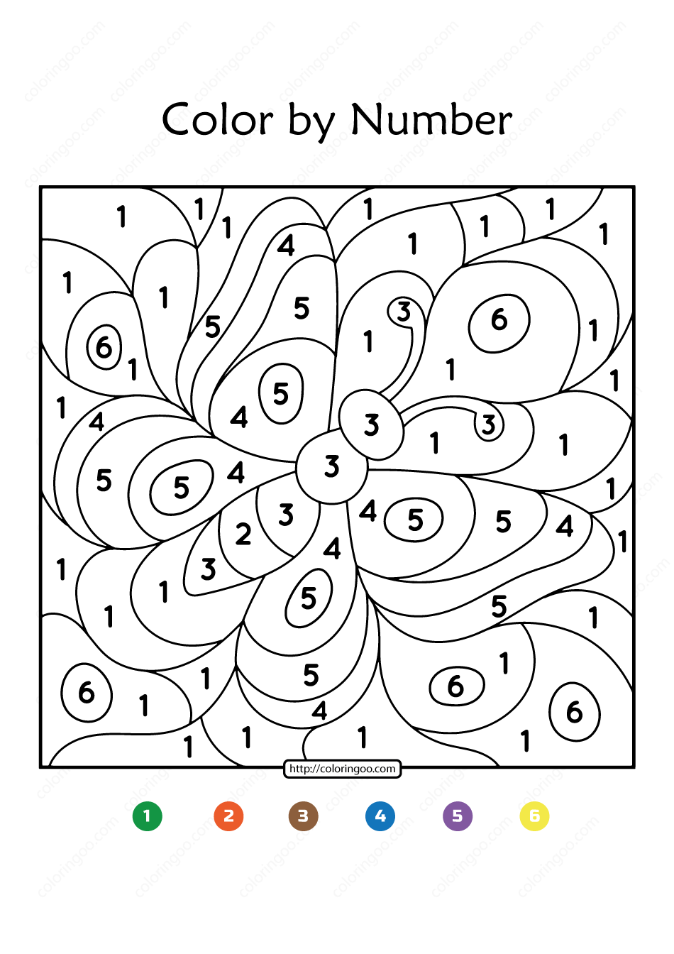 Free Printable Color by Number Butterfly 10