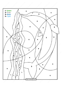 Free Printable Color by Number Ocean Dolphin 03