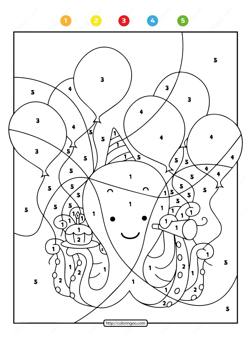 Free Printable Color by Number Ocean Octopus 07