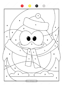 Free Printable Color by Number Ocean Penguin 08