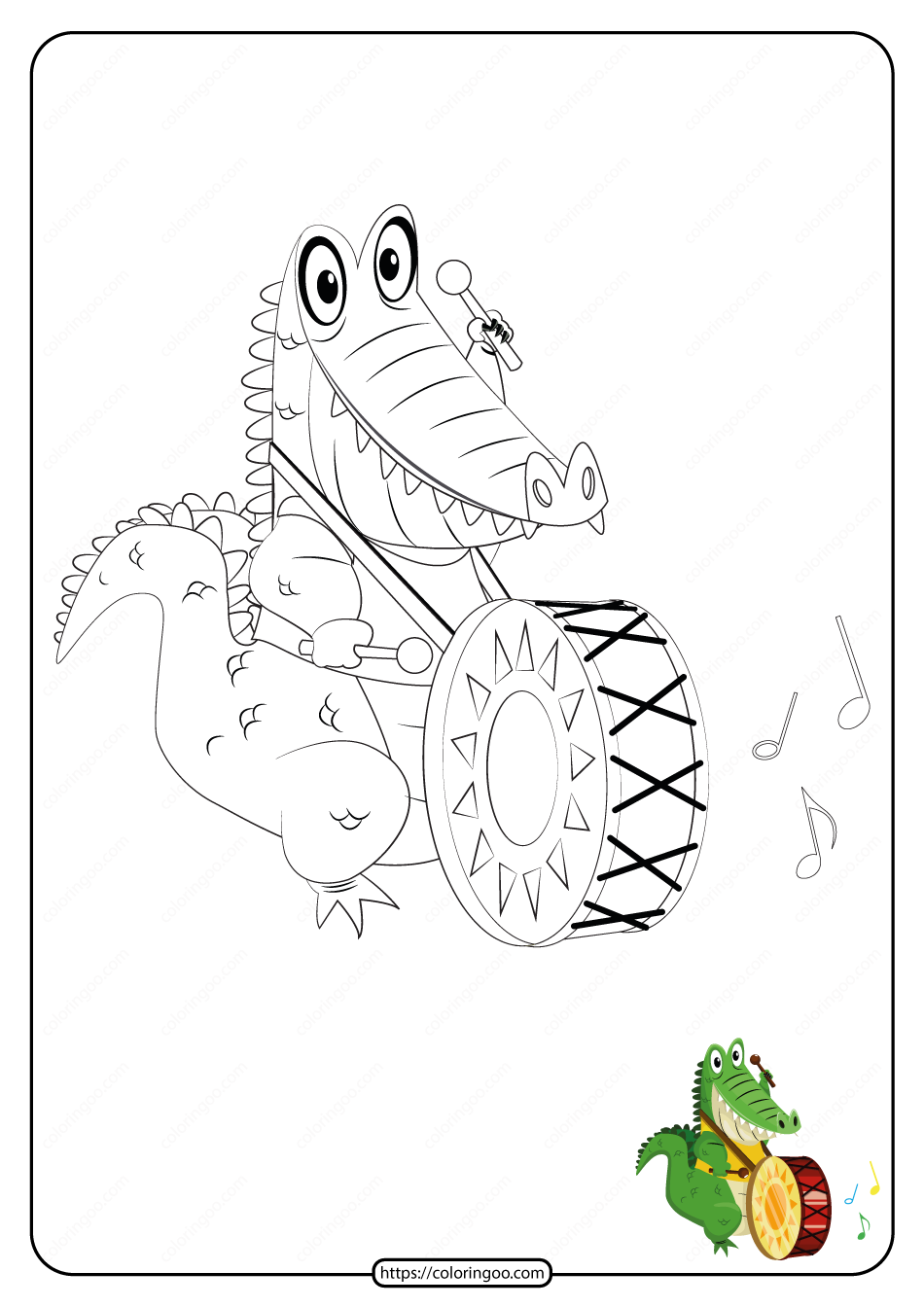 Free Printable Crocodile Pdf Coloring Page