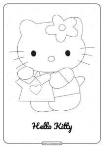 Free Printable Cute Hello Kitty Coloring Page