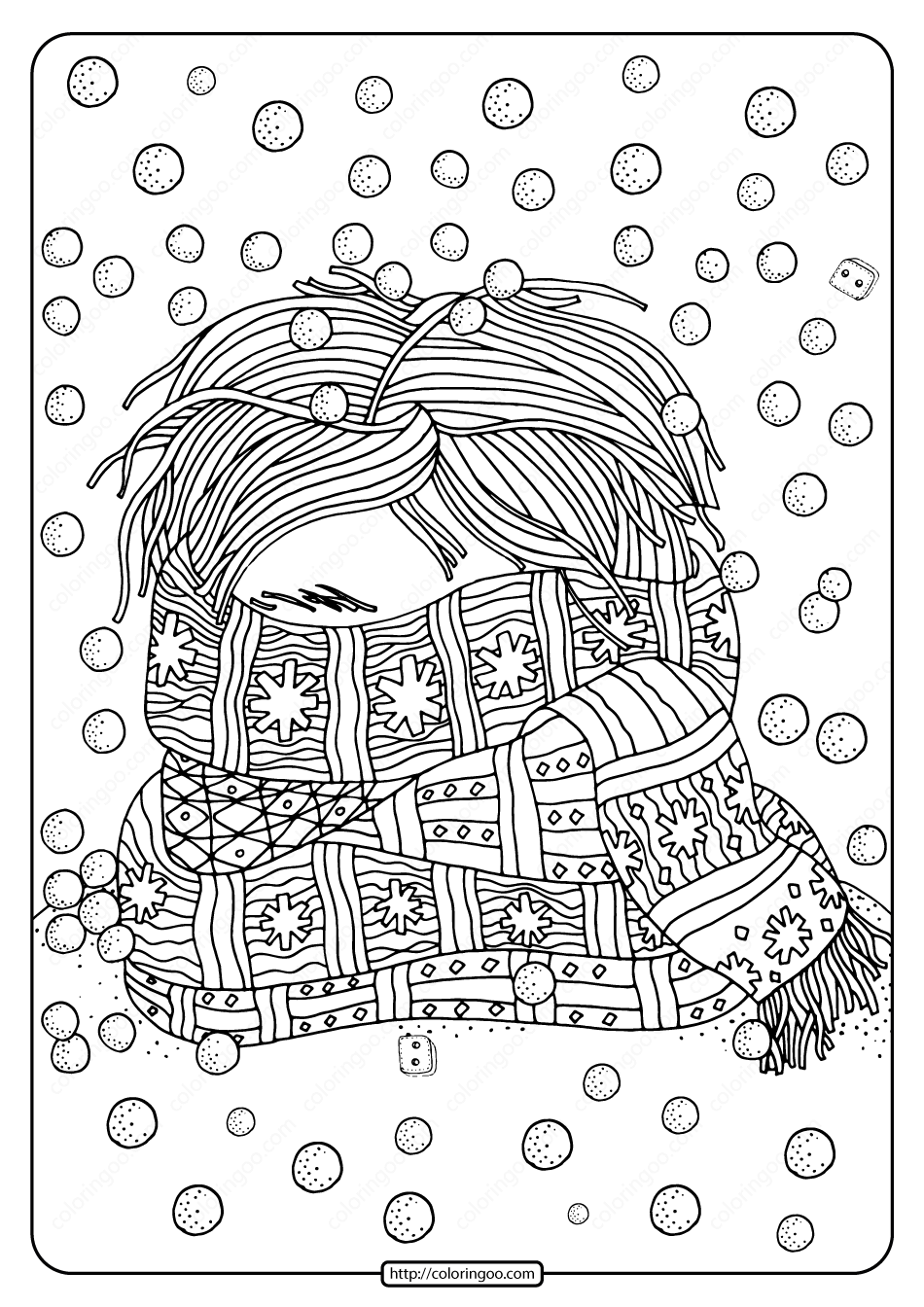 Free Printable Face Covered By Scarf Coloring Page