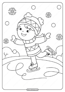Free Printable Girl Ice Skating Pdf Coloring Page