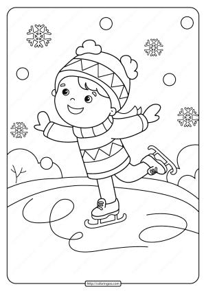 Free Printable Girl Ice Skating Pdf Coloring Page