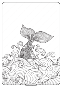 Free Printable Hand Drawn Whale Coloring Page