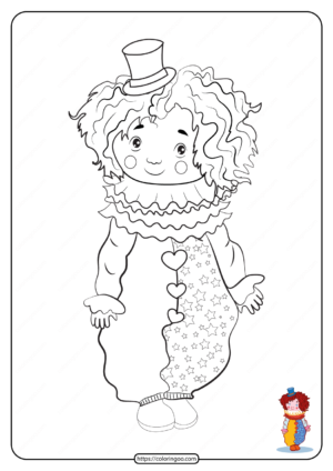 Free Printable Clown Harlequin Pdf Coloring Page
