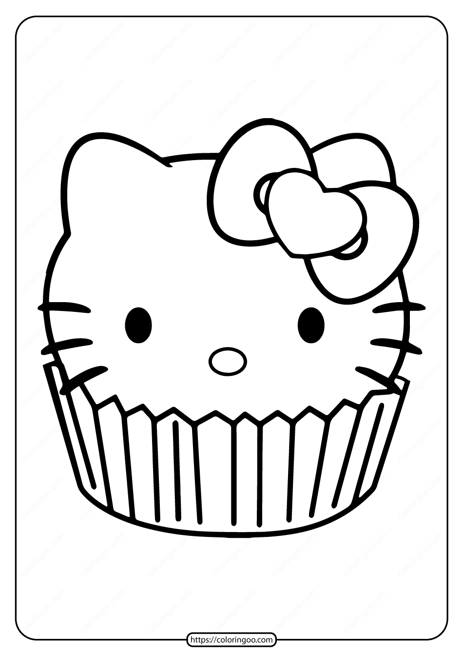Free Printable Hello Kitty Cupcake Coloring Page