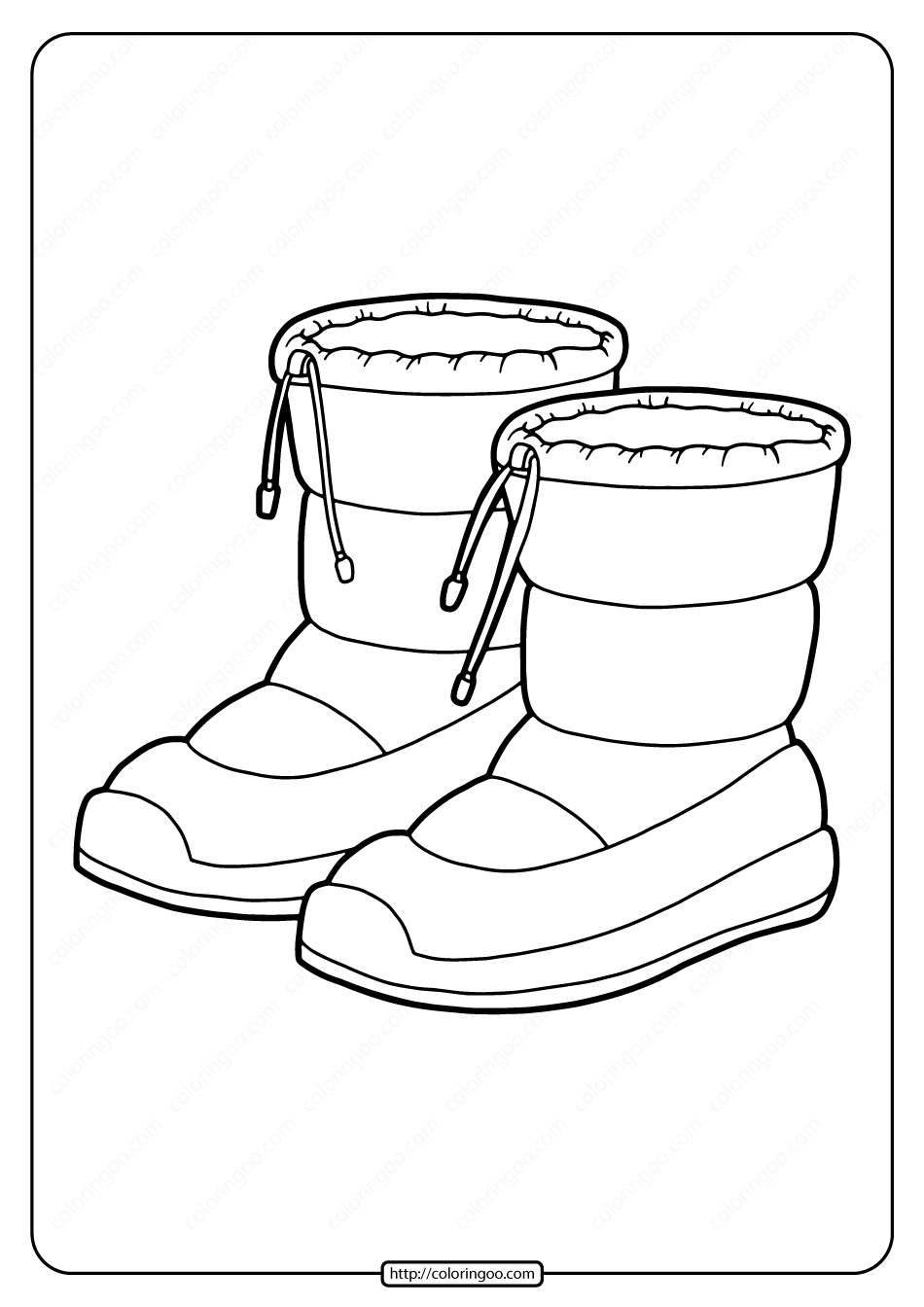 Free Printable Snow Boots Pdf Coloring Page