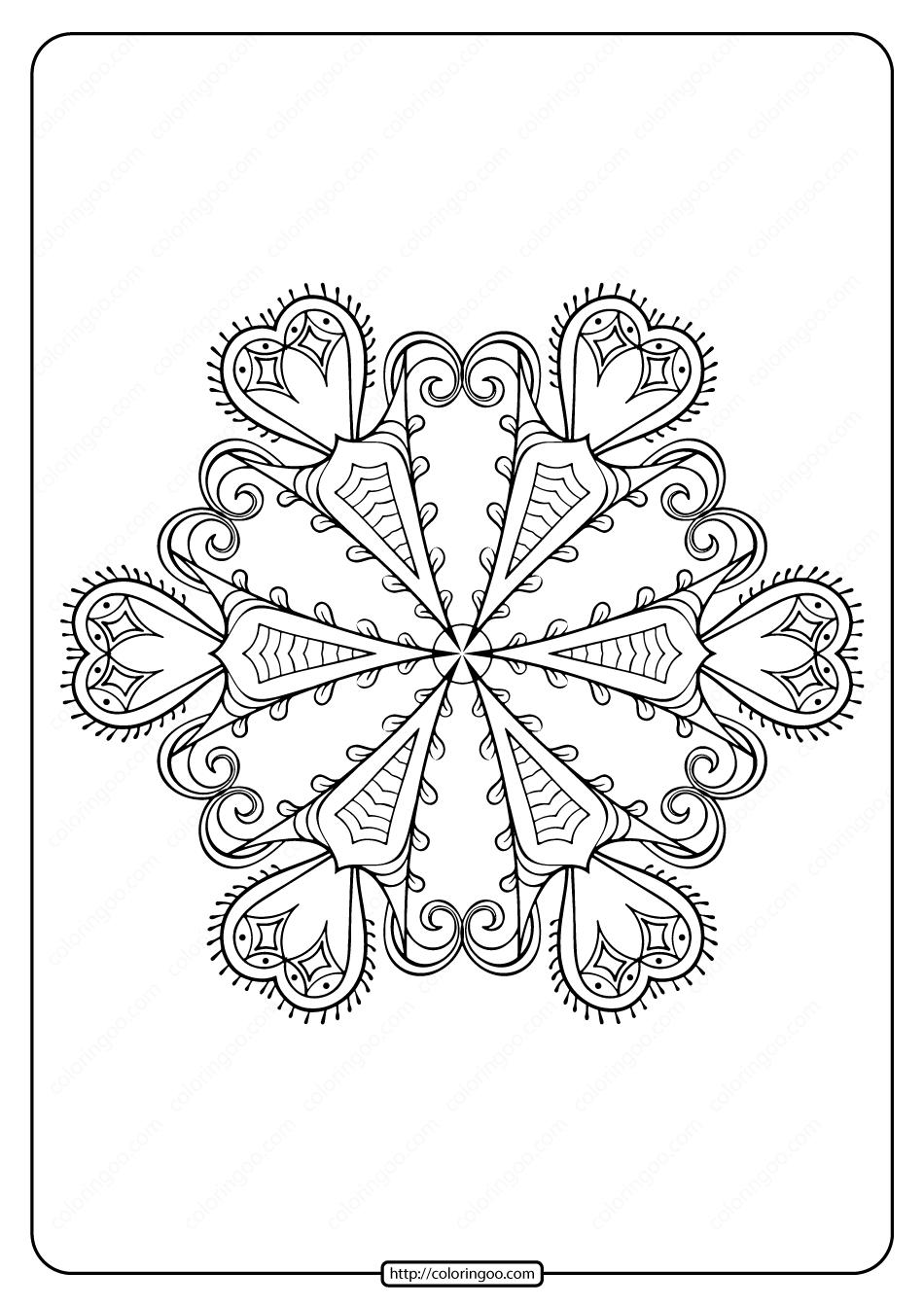Free Printable Snowflake Pdf Coloring Page 05