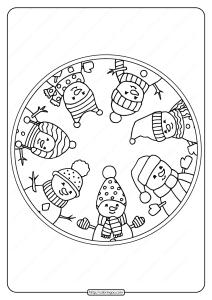 Free Printable Snowmen Circle Pdf Coloring Page