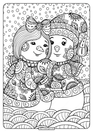 Free Printable Snowmen Couple Pdf Coloring Page