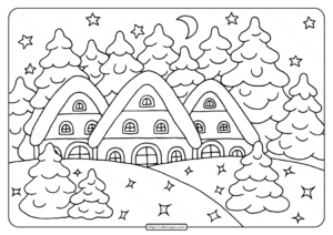Free Printable Snowy House Pdf Coloring Page