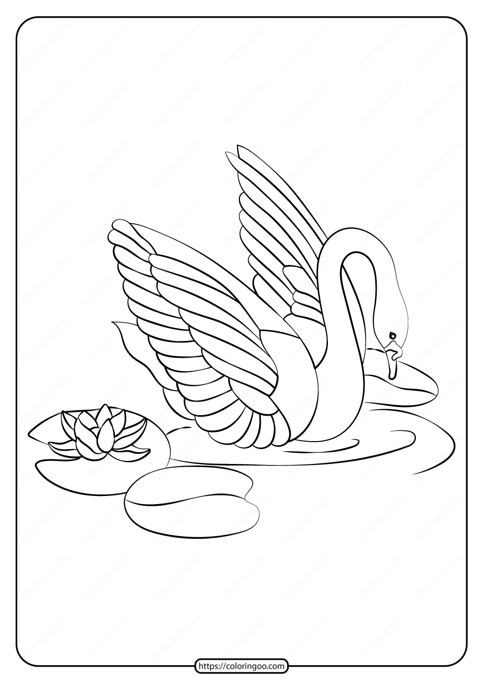 Free Printable Swan Pdf Coloring Page