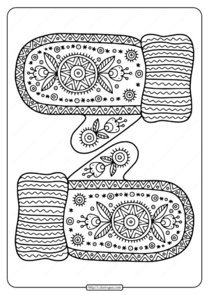 Free Printable Warm Knitted Mittens Coloring Page