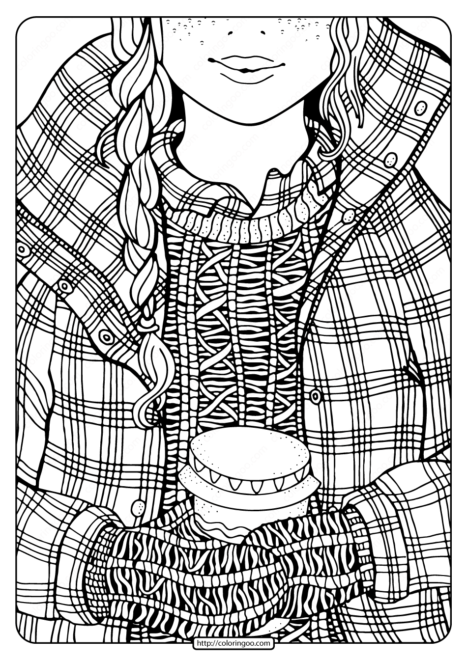 Free Printable Winter Girl and Coffee Coloring Page