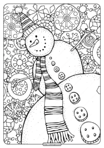 Happy Snowman with Snowflakes Pdf Coloring Page