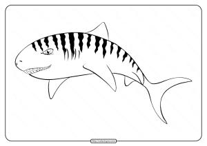 Printable Animal Outline for Shark Coloring Page