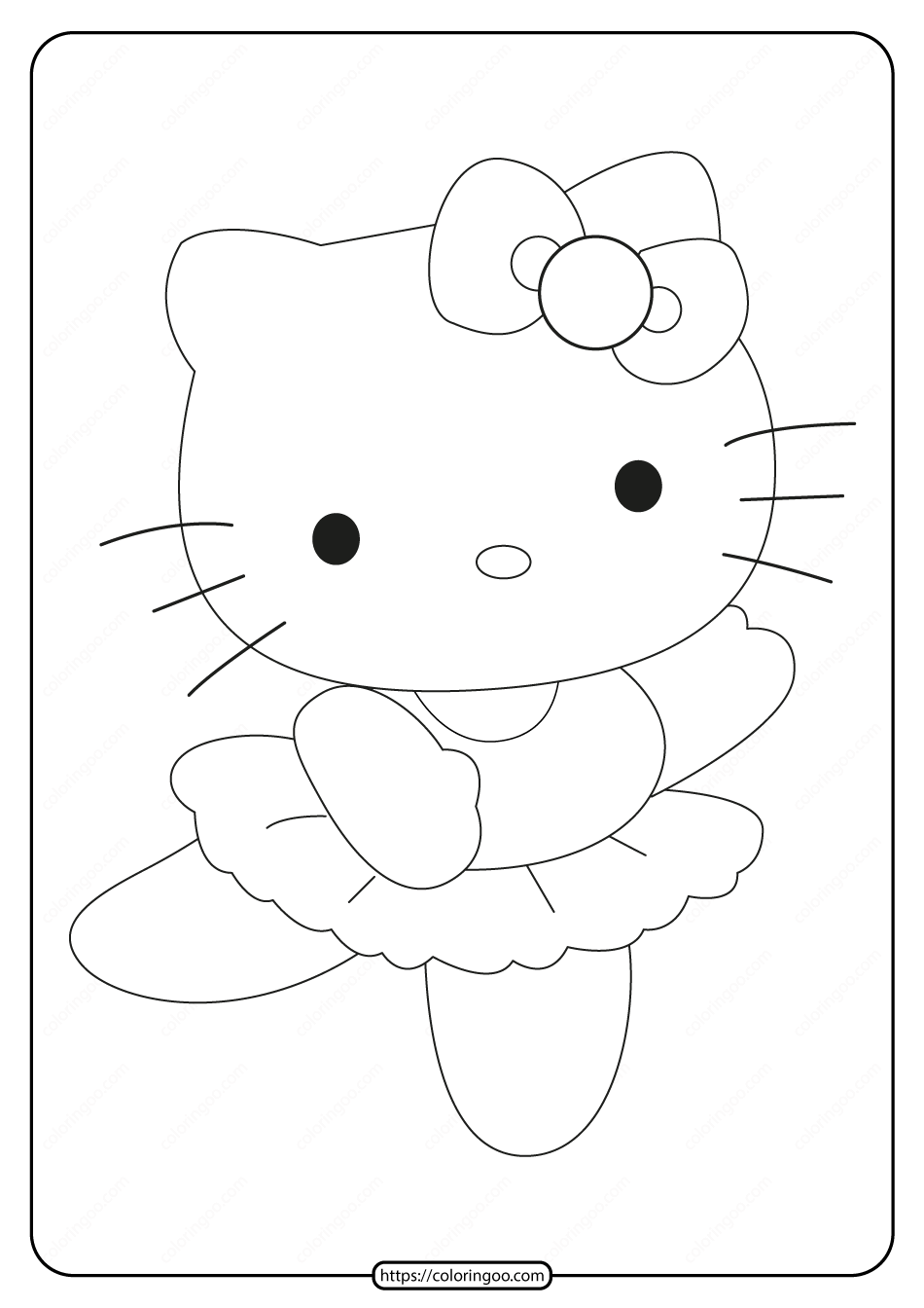 Printable Ballerina Hello Kitty Coloring Page