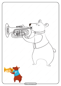 Printable Bear Play a Trumpet Coloring Page