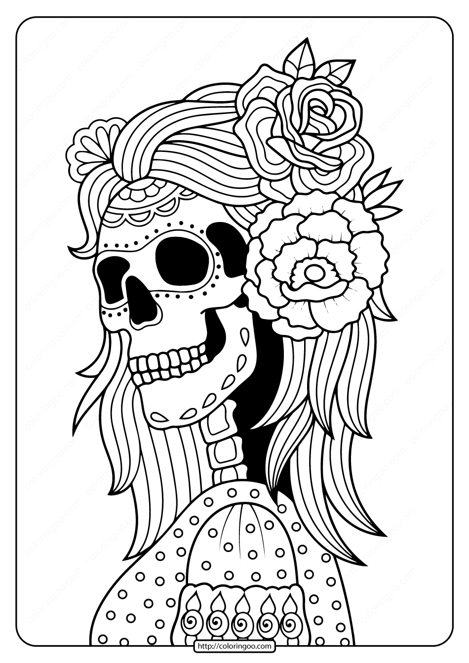 Printable Day of the Dead Adult Coloring Pages 02