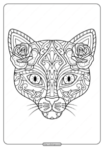 Printable Day of the Dead Cat Coloring Page
