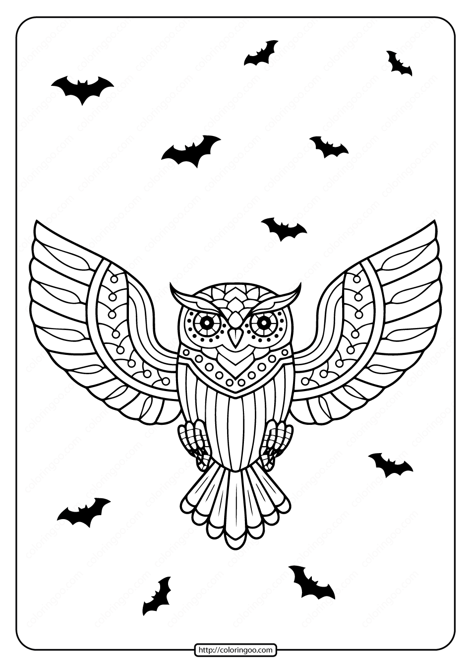 Printable Day of the Dead Owl Coloring Page