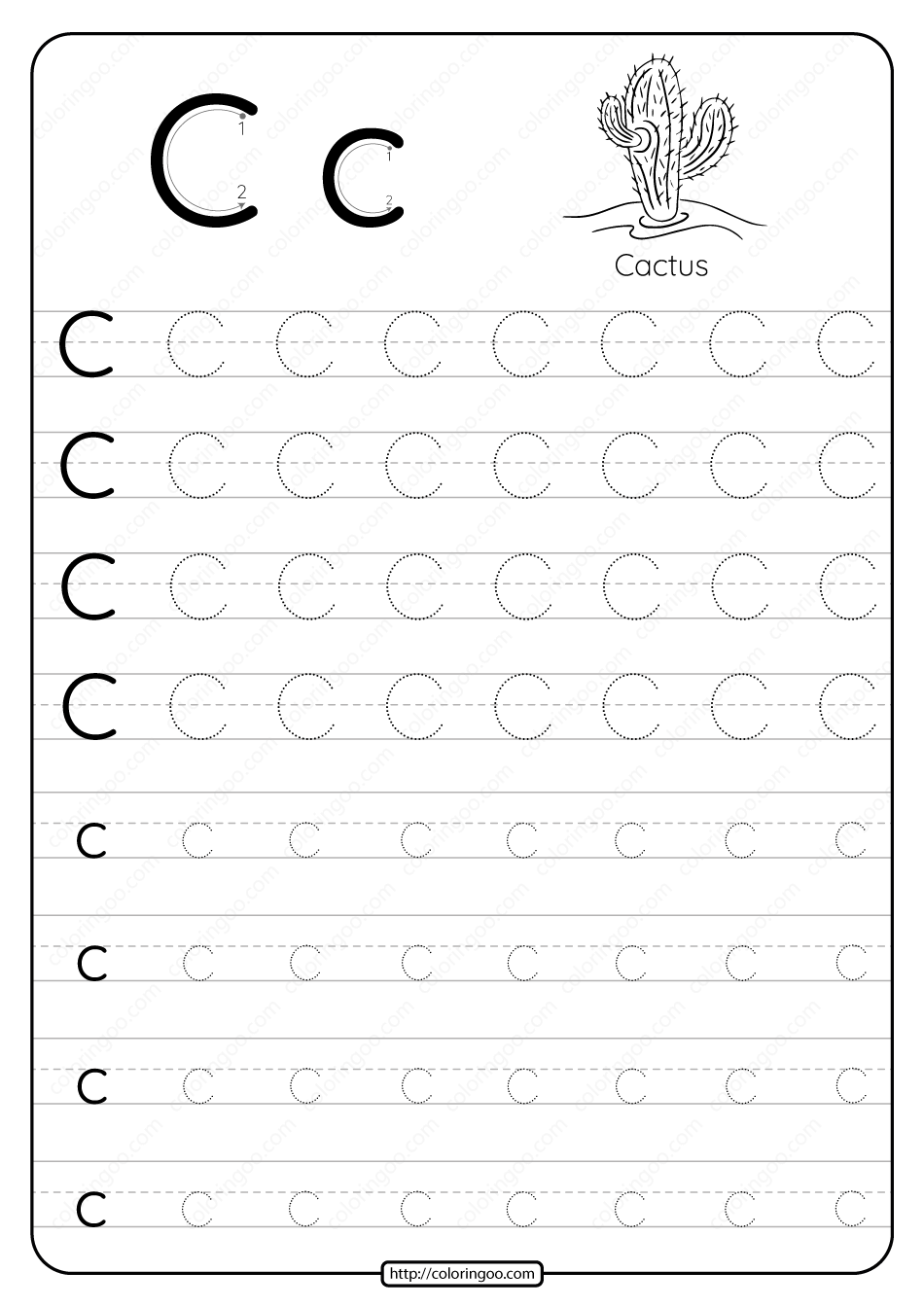 Printable Dotted Letter C Tracing Pdf Worksheet