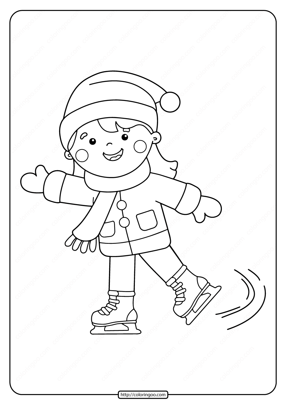 Free Printable Girl Ice Skating Pdf Coloring Page 02