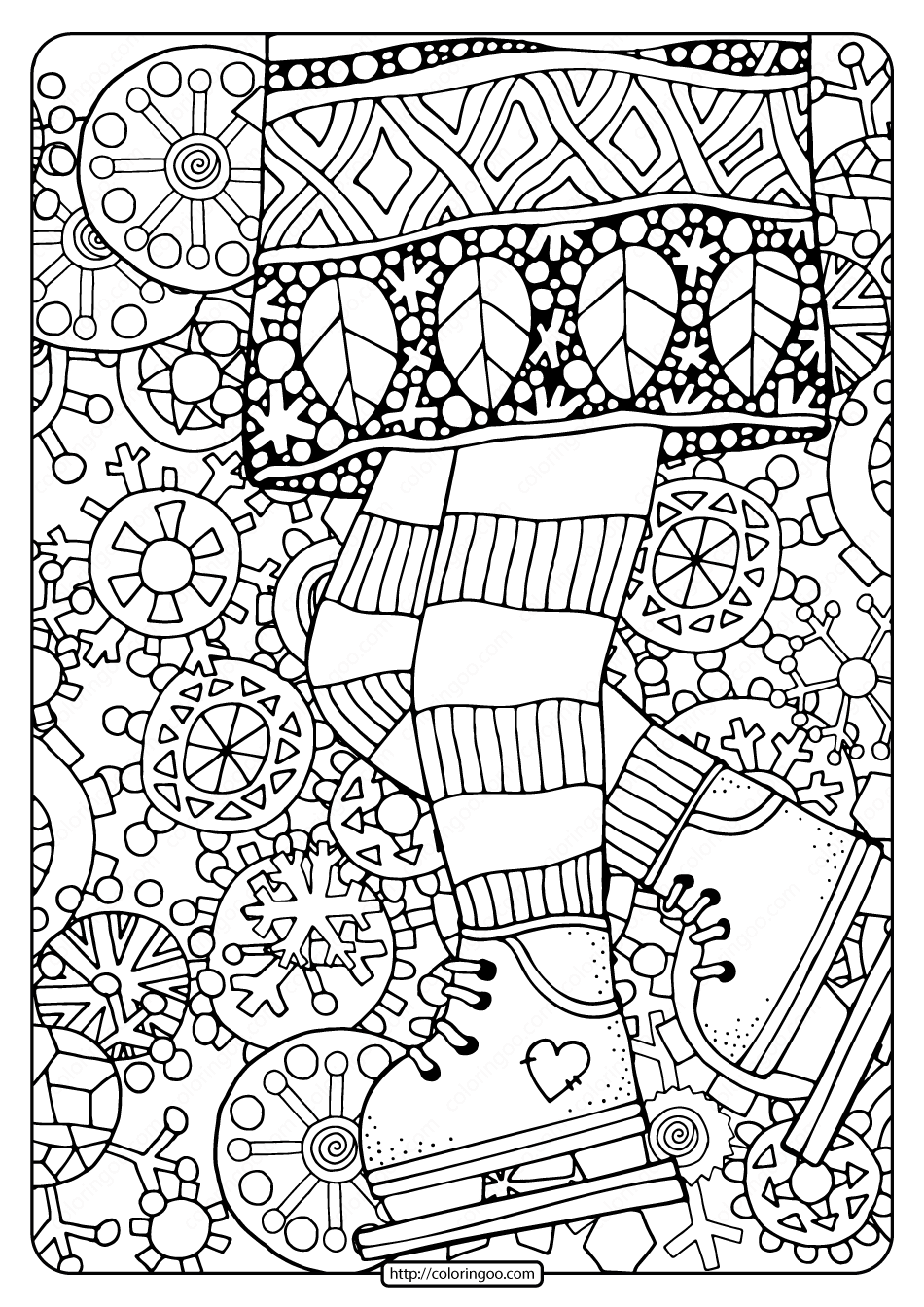 Girl on Ice Skates with Snowflakes Coloring Page