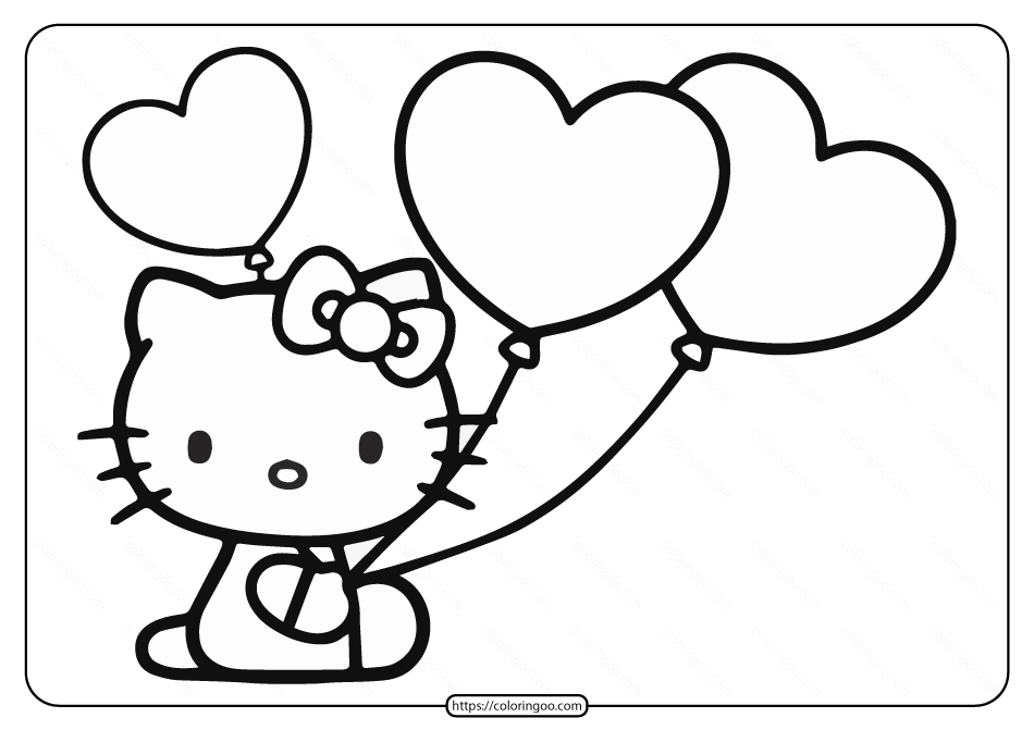 Printable Hello Kitty Balloons Coloring Page