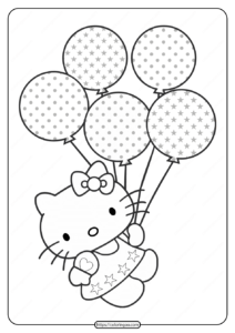 Printable Hello Kitty Balloons Coloring Pages